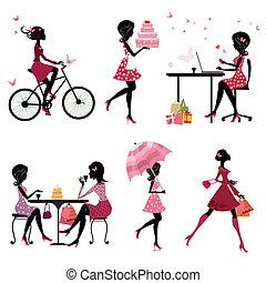 belles filles, ensemble, silhouette, vacances