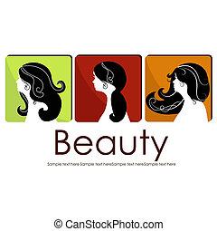 belles filles, trois, icônes