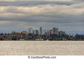 bellevue, スカイライン, 前方へ, 湖 ワシントン州
