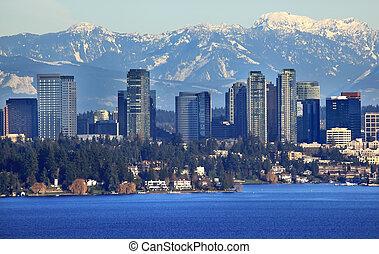Bellevue Lake Snowy Cascade Mountains Washington State - ...