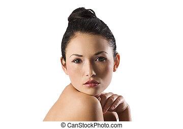 belleza, asiático, retrato