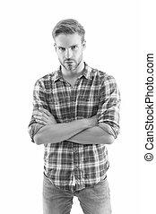 belleza, care., concepto, model., a cuadros, sexy, macho, tipo, hombre, piel, menswear, concept., shirt., masculinidad, style., shop., macho, sin afeitar, llevando, manhood., moda, trends., verano, casual, barbería