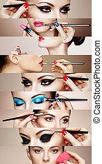 belleza, collage, caras, de, mujeres
