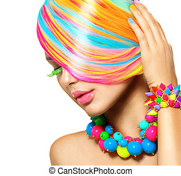 belleza, colorido, maquillaje, accesorios, pelo, retrato,...