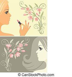 belleza, con, flores