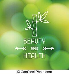 belleza, confuso, salud, plano de fondo, balneario, etiqueta
