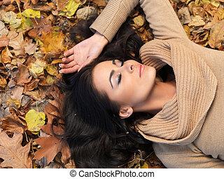 belleza, durante, otoño