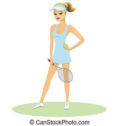 belleza, en, tenis, uniforme, con, raqueta