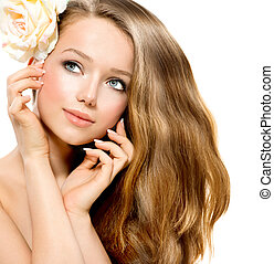belleza, girl., hermoso, modelo, con, rosa, flor