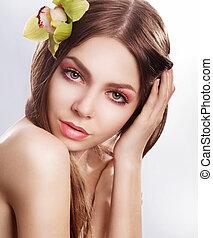 belleza, limpio, cara, de, joven, sensual, mujer, con, orquídea, flor