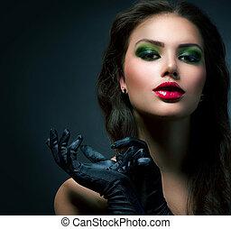 belleza, moda, encanto, girl., vendimia, estilo, modelo, llevando, guantes