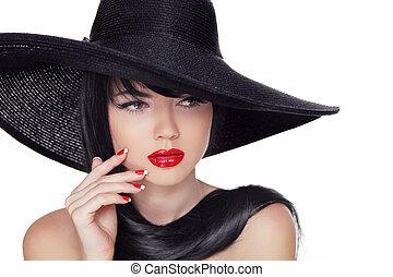 belleza, moda, estilo, modelo, niña, en, negro, hat., manicured, clavos, y, rojo, lipstick., aislado, en, un, blanco, fondo.