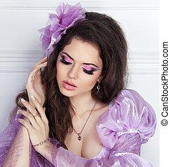 belleza, moda, morena, niña, portrait., makeup., hair.