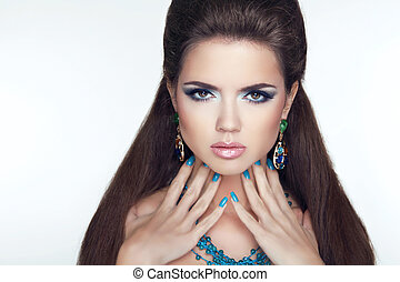 belleza, moda, morena, woman., makeup., manicured, nails., largo, hai