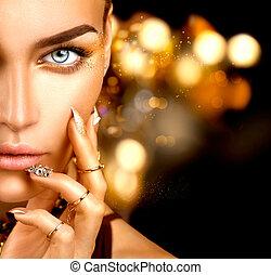 belleza, moda, mujer, con, dorado, maquillaje, accesorios, y, clavos