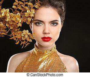 belleza, moda, mujer, en, dorado, dress., labios rojos