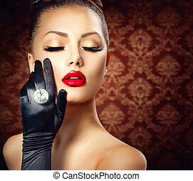 belleza, moda, niña atractiva, portrait., vendimia, estilo