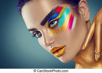 belleza, moda, retrato arte, de, mujer hermosa, con, colorido, resumen, maquillaje