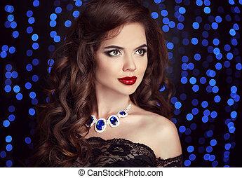 belleza, moda, retrato, de, elegante, mujer, con, labios rojos, maquillaje
