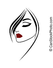 belleza, moda, retrato de mujer, con, labios rojos