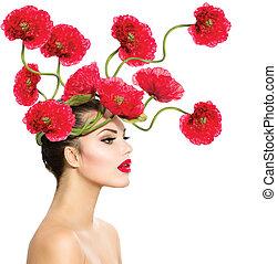 belleza, modelo, mujer, con, amapola roja, flores, en, ella, pelo