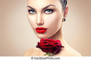 belleza, modelo, mujer, con, rosa roja, flor
