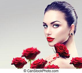 belleza, modelo, mujer, face., retrato, con, rosa roja, flores