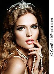 belleza, modelo, niña, con, brillante, maquillaje