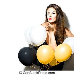 belleza, modelo, niña, con, globos coloridos, aislado, blanco