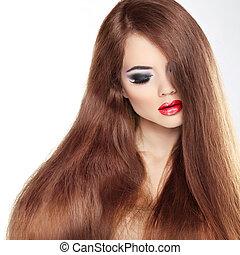 belleza, modelo, niña, con, largo, sano, pelo ondulado, y, perfecto, makeup., mujer hermosa, con, labios rojos, y, brillante, marrón, hair., aislado, blanco, plano de fondo