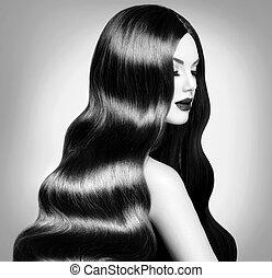 belleza, modelo, niña, con, largo, sano, pelo ondulado, y, perfecto, maquillaje