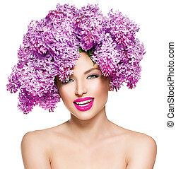 belleza, modelo, niña, con, lila, flores, peinado