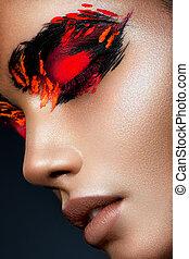 belleza, modelo, niña, con, oscuridad, brillante, naranja, maquillaje
