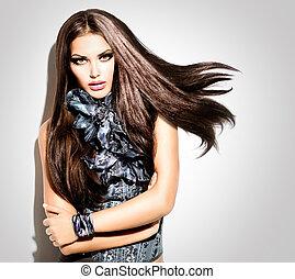 belleza, modelo, niña, portrait., moda, estilo, mujer