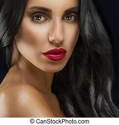 belleza, mujer, con, largo, negro, hair.