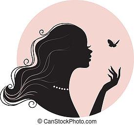 belleza, mujer, con, mariposa