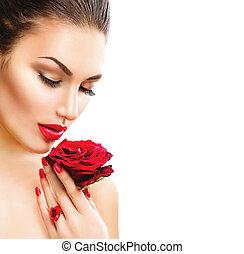 belleza, mujer, con, rosa roja, aislado, blanco, plano de fondo
