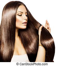 belleza, mujer, conmovedor, ella, largo, y, sano, pelo...