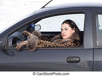 belleza, mujer, en el coche