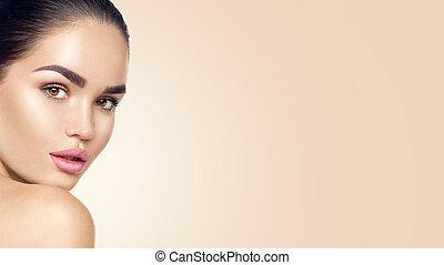 belleza, mujer, face., hermoso, morena, joven, modelo, niña, con, perfecto, skin., skincare, concepto