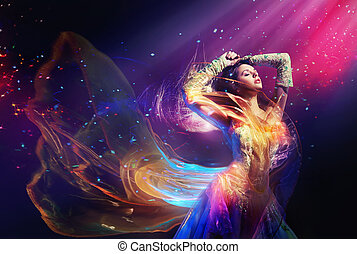 belleza, mujer, llevando, magnífico, vestido