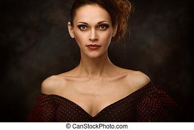 belleza, mujer, moda, retrato
