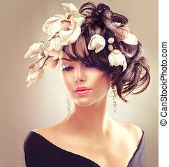 belleza, mujer, portrait., moda, morena, niña, con, magnolia, flores, peinado