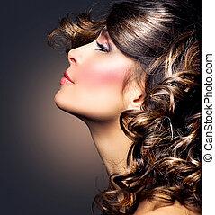 belleza, mujer, portrait., rizado, hair., morena, niña