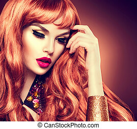 belleza, mujer, portrait., sano, largo, rizado, pelo rojo
