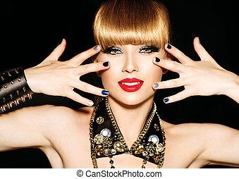 belleza, niña, con, brillante, maquillaje, y, punk, estilo, accesorios