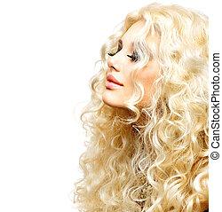 belleza, niña, con, sano, largo, rizado, hair., rubio, mujer