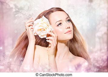 belleza, niña, portrait., primavera, modelo, con, flor