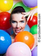 belleza, niña, retrato, con, colorido, maquillaje, esmalte uñas, y, accessories., colorido, tiro del estudio, de, divertido, woman., vívido, colors.