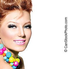 belleza, niña, retrato, con, moda, peinado, y, colorido, maquillaje